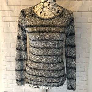 Lucky Brand knitted crewneck striped sweater gray
